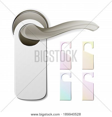 Metal Door Handle Lock With Hanger. Hostel, Hotel Hanger Sign. Door Knob. Do Not Disturb. Vector