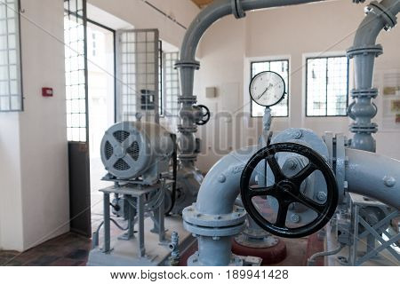 Old pumping station in Tavira, in the Algarve region of Portugal