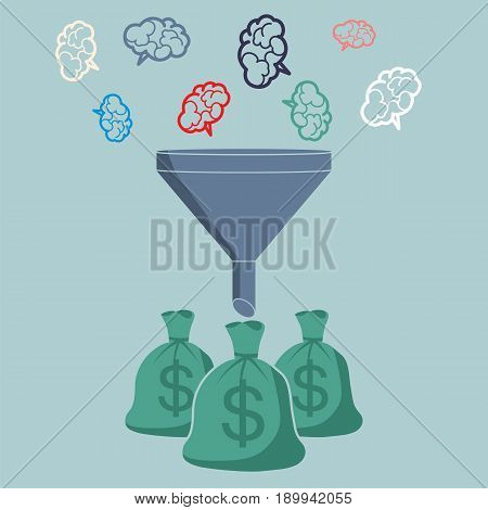 Profit and investment concept. Brains falling into the funnel converted to the money.