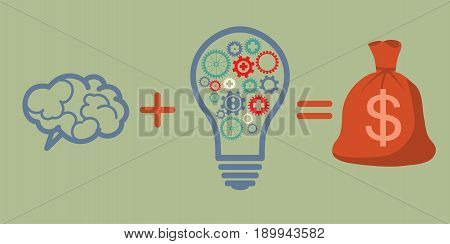 Profit and investment concept. Brains plus good idea equally money profit.