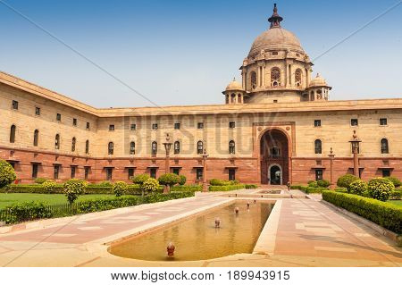 Ministries near Rashtrapati Bhavan the official home of the President of India located at the Western end of Rajpath in New Delhi India.