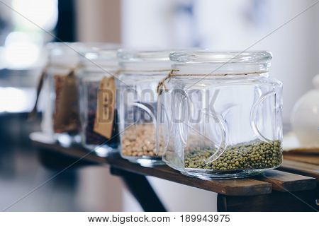 Raw Green Mung Beans In Glass Jar