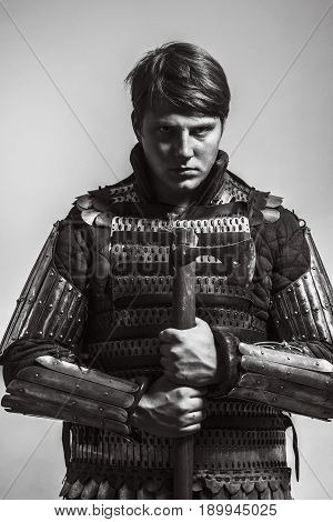 Medieval russian warrior of 13-14th centuries over white