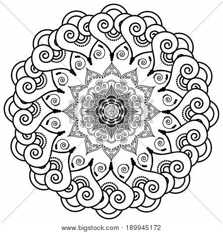 Rosette style mandala flower inspired by Asian culture and henna mehndi tattoo elements in black and white on white background