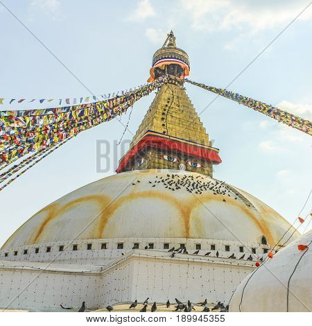 Buddhist Religious Centre Boudhanath Stupa In Kathmandu, Nepa