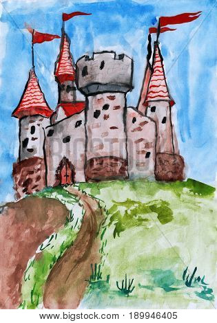 old castle, tower with flag, medieval stronghold, child drawing watercolor on paper, hand drawn art picture