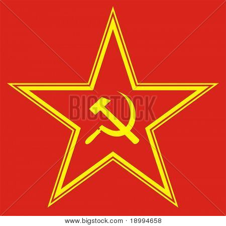 Communist red star with hammer and sickle on red background. Vector illustration.