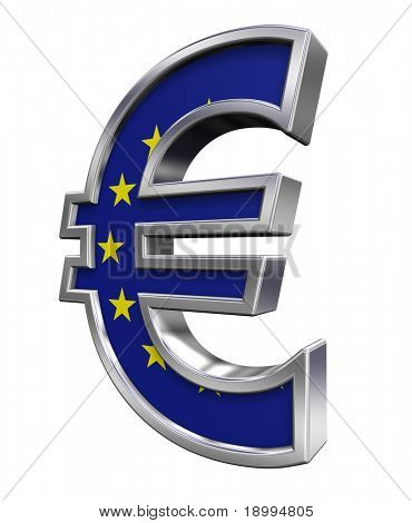 Silver Euro sign with european union flag isolated on white. Computer generated 3D photo rendering.