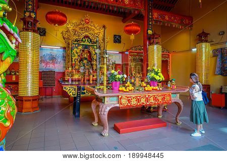 Kuala Lumpur, Malaysia -March 9, 2017: Inside of Guan Di Temple, a beautiful Buddhist shrine located in the city downtown