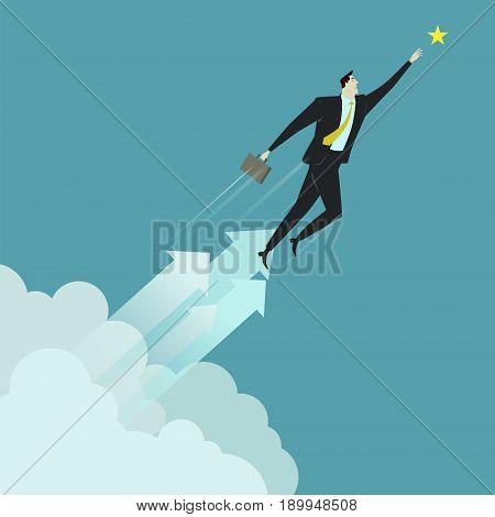 Businessman grabbing the star above cloud, metaphor or symbol of overcoming adversity in strategy and finding leadership solutions corporate of success. Vector Illustration flat style.