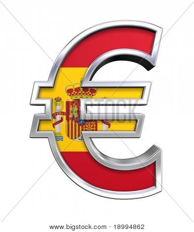Silver Euro sign with Spain flag isolated on white. Computer generated 3D photo rendering.