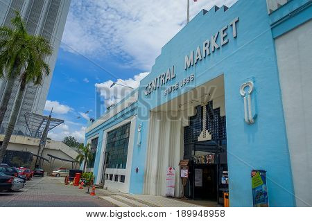 Kuala Lumpur, Malaysia - March 9, 2017: Old blue vintage facade of Cental Market in Jln Hang Kasturi. The market constructed in 1988 is classified as a Heritage Site by the Malaysian Heritage Society