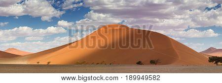 Panorama Top of Dune 45 at Sossusvlei Namibia Africa