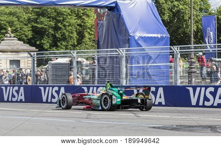 PARIS - 20 May 2017: The Formula E car of the Brazilian racing driver L. di Grassi of ABT Schaeffler Audi Sport Team racing the Paris ePrix on the Invalides Circuit.This car is only electric-powered. L. di Grassi is on the second place in the general stan