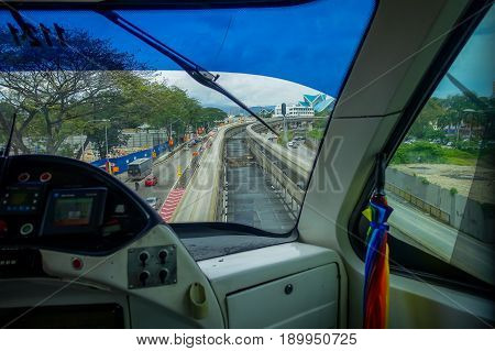 Kuala Lumpur, Malaysia - March 9, 2017: The KL Monorail is a short and elevated monorail system that connecting destinations within the city centre along 11 stations and 8.6 km