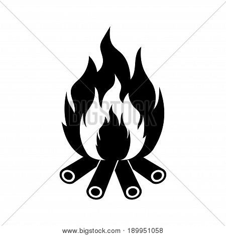 Bonfire with firewood fire symbol isolated on white. Vector illustration