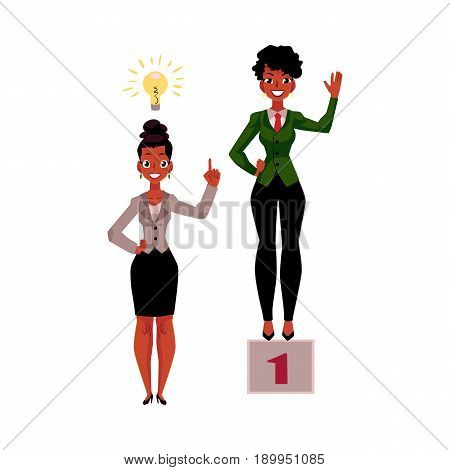 Black, African American businesswoman, manager has insight, gets idea, achieves and celebrates success, cartoon vector illustration isolated on white background. Black businesswoman, idea and success