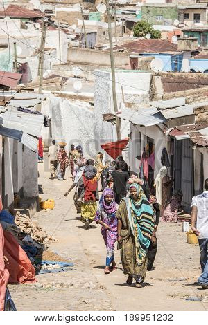 HARAR, ETHIOPIA-MARCH 31, 2017: Unidentified people walk the streets of the ancient city of Harar, Ethiopia