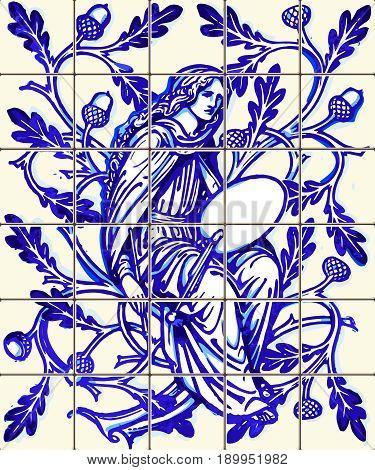 Blue oak fairy azulejo indigo ceramic tile magnet souvenir. Realistic detailed vector floor pattern ornament ornate illustration