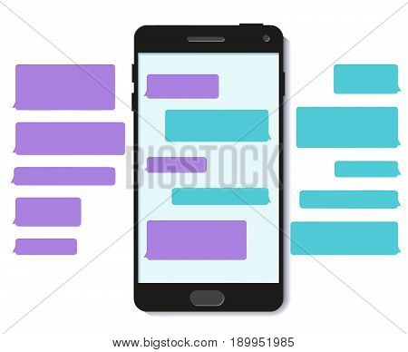Chatbot chat text message bubble template 3D flat vector mobile interface illustration
