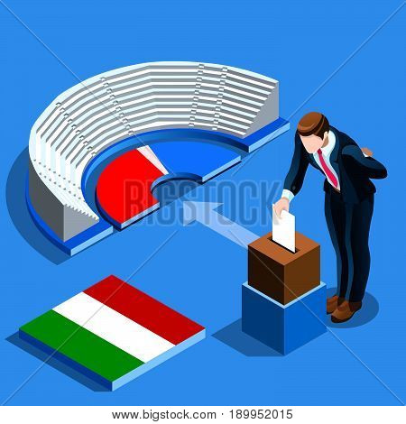 Italy election voting concept Italian man putting vote in the isometric ballot box. Vector illustration with 3D flat isometric realistic detailed people