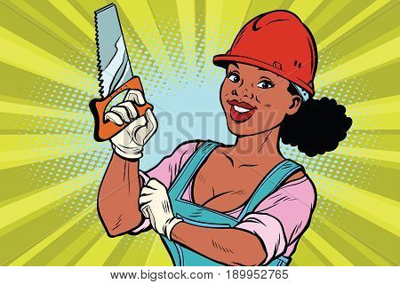 Woman professional. Construction worker with the repair tool saw. African American people. Comic book cartoon pop art retro colored drawing vintage illustration