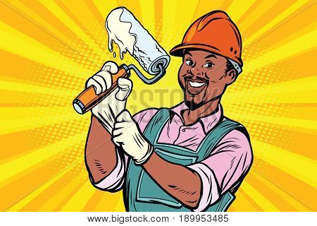 Construction worker with the repair tool roller for paint. African American people. Comic book cartoon pop art retro colored drawing vintage illustration