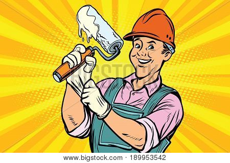 Construction worker with the repair tool roller for paint. Comic book cartoon pop art retro colored drawing vintage illustration