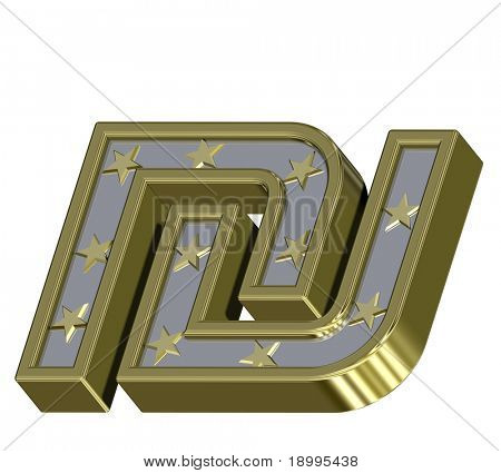 Gold-silver Sheqel sign with stars isolated on white. Computer generated 3D photo rendering.