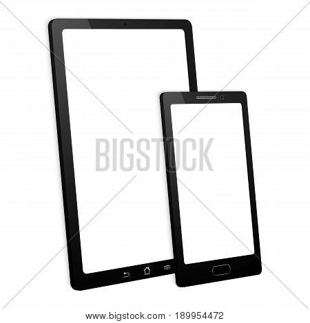 Smartphone and tablet on white background. Isolated with touchscreen.