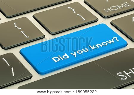 Did you know? Button on keyboard. 3D rendering