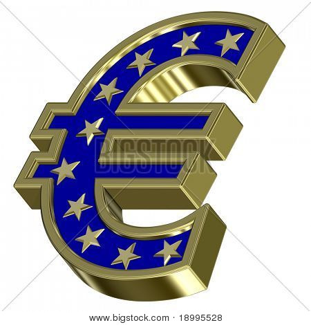 Gold-blue Euro sign with stars isolated on white. Computer generated 3D photo rendering.