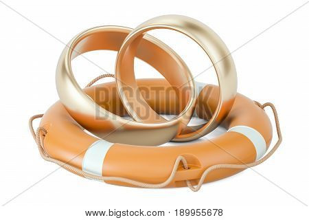 Lifebuoy with golden wedding rings 3D rendering isolated on white background