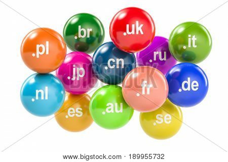 Set of colored balls with country code top-level domain names 3D rendering