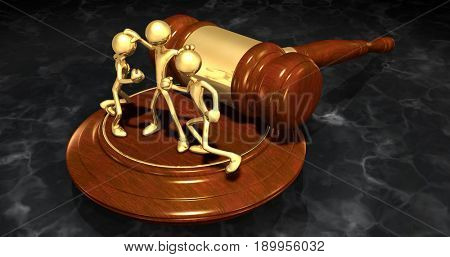 Mediator Law Concept With The Original 3D Characters Illustration