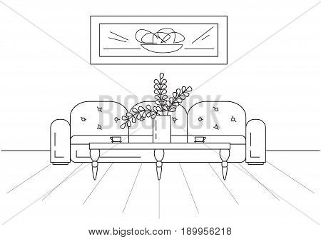 Modern interior. Sofa table in front of the sofa. On the table a vase with a plant. On the wall hangs a picture. Vector illustration in a linear style.