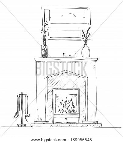 Fireplace with burning fire. On the fireplace there is a vase with a plant. Above the fireplace hangs a picture. Vector illustration in a sketch style.