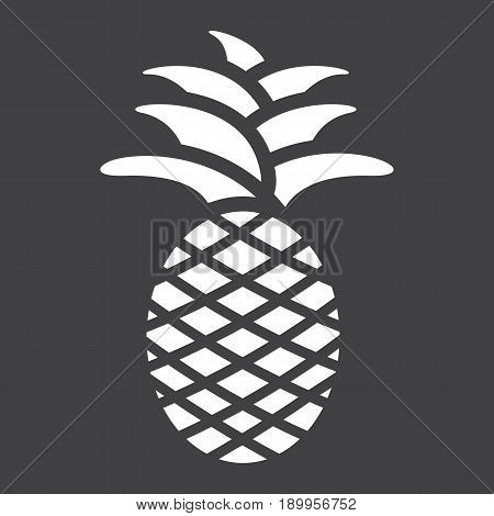 Pineapple solid icon, fruit and tropical, vector graphics, a glyph pattern on a black background, eps 10.