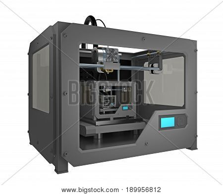3d printer infinitely print small 3d printer. 3d rendering