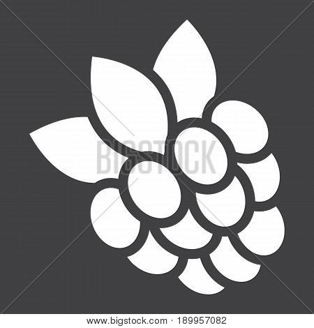 Raspberry solid icon, fruit and diet, vector graphics, a glyph pattern on a black background, eps 10.
