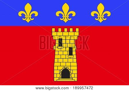 Flag of Clermont is a commune in the Oise department in northern France. Vector illustration