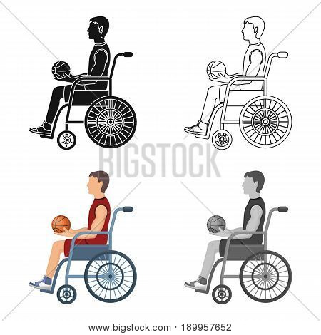 Basketball player disabled.Basketball single icon in cartoon style vector symbol stock illustration .