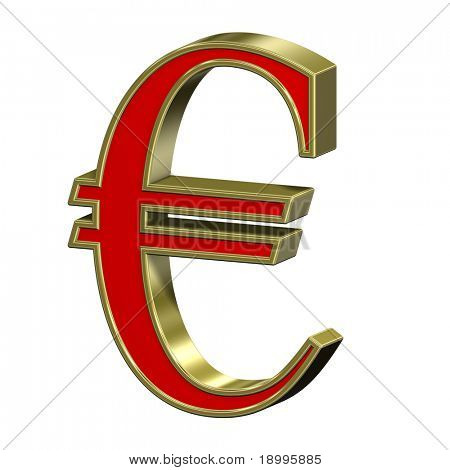 Euro sign from red with gold frame Roman alphabet set, isolated on white. Computer generated 3D photo rendering.