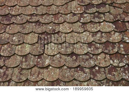Old Weathered Gray Brown Ceramic Roof Tiles