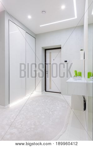modern white apartment hallway
