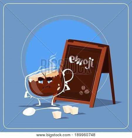 Cartoon Coffee Cup Sad Tired Face People Emoji Flat Vector Illustration