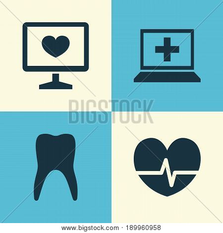 Medicine Icons Set. Collection Of Database, Dental, Rhythm And Other Elements. Also Includes Symbols Such As Capsule, Rhythm, Medicament.