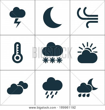 Air Icons Set. Collection Of Douche, Temperature, Nightly And Other Elements. Also Includes Symbols Such As Breeze, Overcast, Nightly.
