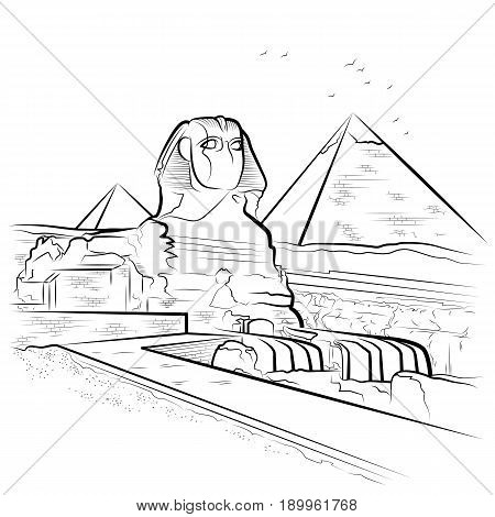Drawing pyramids and Sphinx in Giza Egypt. Vector illustration