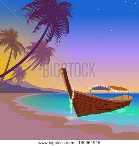 Boat Sunset Sea Vacation. Romantic Date Wedding Travel Leisure Sandy Coast Pink Sunset Sky. Palm Bea